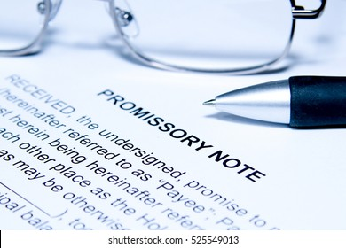 Promissory Note Blue Background