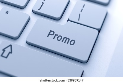 Promo word button on computer keyboard with soft focus