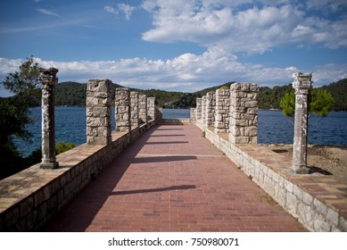 Promontory on the grounds of the Benedictine monastery on the island of St. Mary, Mljet, Croatia