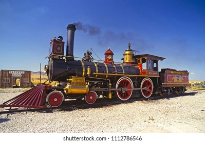 PROMONTORY POINT, UTAH, USA - APRIL 5, 2018: Historic steam locomotive at Promontory Point, Golden Spike National Historic Site, where the first transcontinental railroad completed on May 10, 1869.