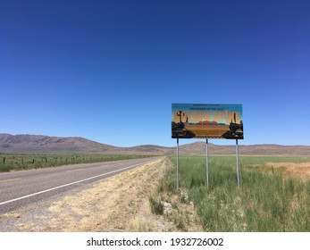 Promontory, UT, USA - 2 July 2019: Sign for the Golden Spike National Historical Park along Utah Highway 83 where the Union Pacific and the Central Pacific railroads met in 1869.