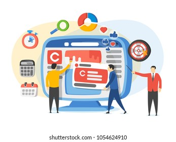 Promotion of the brand in social network. Analytics for social media marketing, management and optimization. Advertising and promotion process. People in the social media industry. Raster image