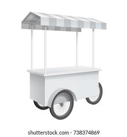 Promotion counter on wheels and a triangular roof covered with striped awning, Retail Trade Stand Isolated on the white background. MockUp Template For Your Design. 3D illustration.