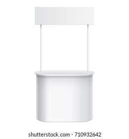 Promotion counter, Retail Trade Stand Isolated on the white background. MockUp Template For Your Design. 3D illustration