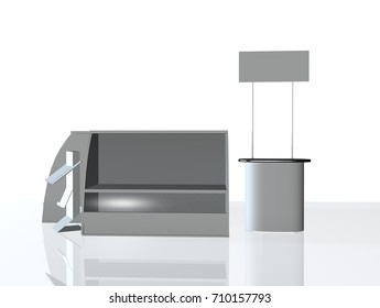 Promotion counter side. 3D rendering blank trade show booth for designers  3d illustration