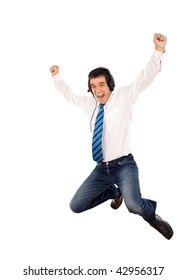 Promotion happy dance - office worker jumping with joy, isolated