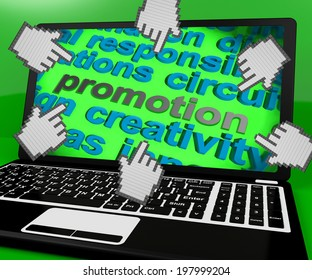 Promotion Laptop Screen Showing Marketing Campaign Or Promo