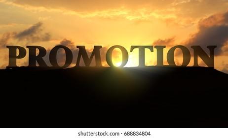 Promotion on sunset landscape - 3d rendering
