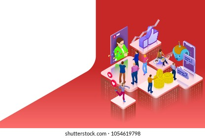 Promotion in social networks. Chatbot, video broadcast, stories, SMM promotion, online analytics. People in social network. 3d puzzle pieces. Landing page template. Raster image