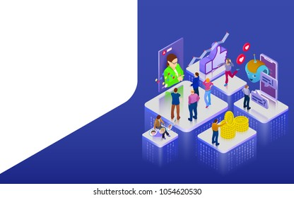 Promotion in social networks. Chatbot, video broadcast, stories, SMM promotion, online analytics. People in social network. 3d puzzle pieces. Flat 3d isometric banner. Raster image