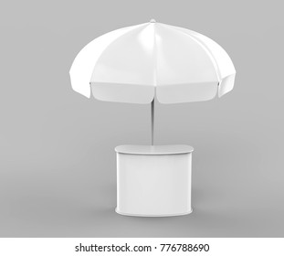 Promotional Aluminum Sun Pop Up Umbrella With Stand Outdoor Patio Umbrellas For Advertising. 3d rending illustration.