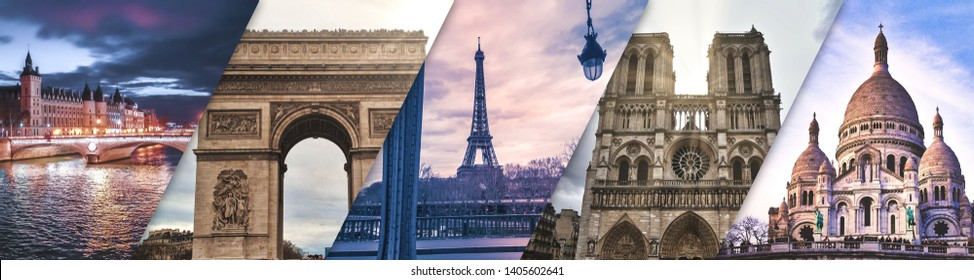 Promotional banner of Paris France - 5 pictures of monuments