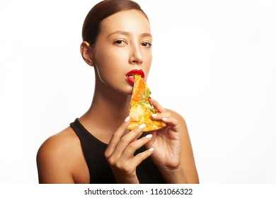 Promotional flyer, poster for restaurants, pizzerias concept. Beautiful young woman with dark hair, great make-up, biting slice of pizza. Copyspace, close up. Studio shot
