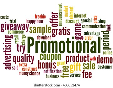 Promotional, word cloud concept on white background.