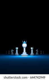 Prompt career. Horizontal chess composition. Standing Out from the Crowd. Available in high-resolution and several sizes. 3D illustration. Black background layout with free text space.