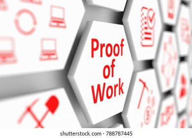 Proof of Work concept cell blurred background 3d illustration