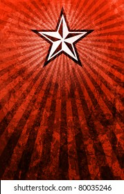 A propaganda like poster of a bold star with emanating light rays over a grunge background.