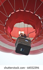 Propane burner filling up a hot air balloon