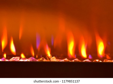 Propane Fireplace Flames Blurred Abstract Background
