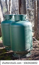 propane gas tanks for swimming pool in woods