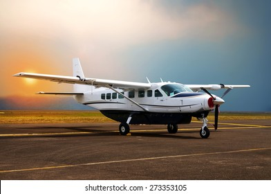 Propeller airplane parking at the airport.