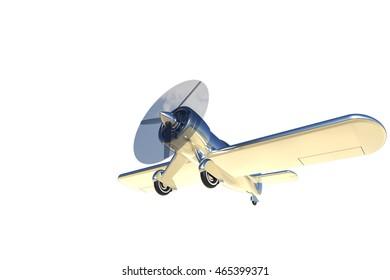 Propeller plane isolated on white. 3D render