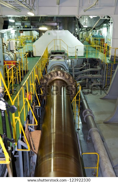 Cargo Ship Engine Room: Propeller Shaft Large Container Ship Stock Photo (Edit Now