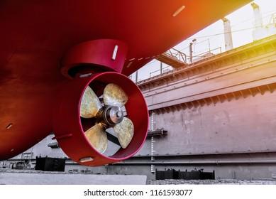 propeller of ship under Repair, maintenance, annual survey at floating dock in shipyard Thailand