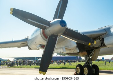 Propellers of the engine and chassis of the Soviet (Russian) turboprop strategic bomber.