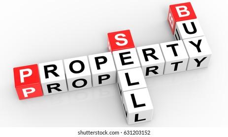 Property Buy Sell Crossword 3d render