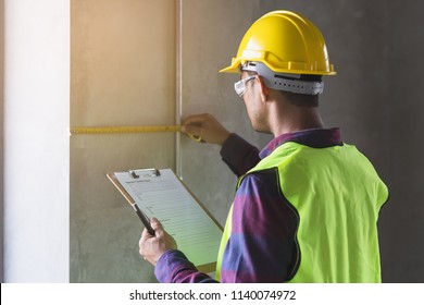Property inspection consulting service. Inspector checking apartment
