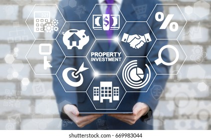 Property Investment Finance Business Concept. Real estate. Man offers tablet computer with Property Investment words icon on virtual screen.