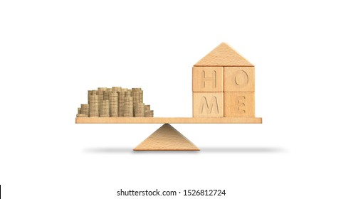 Property investment and mortgage financial concept.Money and home on Scales of justice,loan,mortgage. Change home into cash concept Balance home and debt. Model house and money coins stack balancing .
