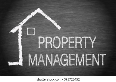 Property Management - House with text on chalkboard background