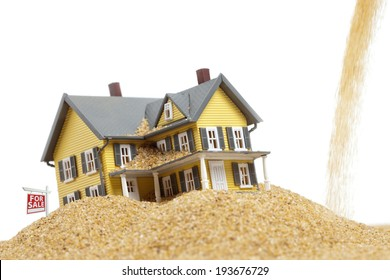 Property values dropping, house for sale, real estate crisis concept, copy space