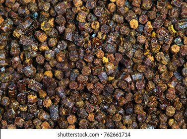 Propolis granules grunge texture background, bee product