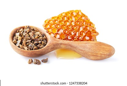 Propolis with honeycomb on white background