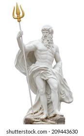 Proportion details Poseidon statue isolated on white background venezia Thailand Park.