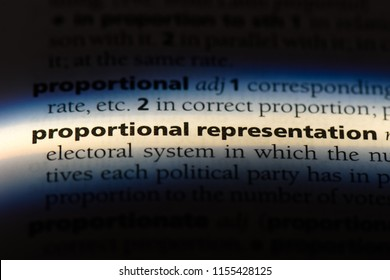 proportional representation word in a dictionary. proportional representation concept.