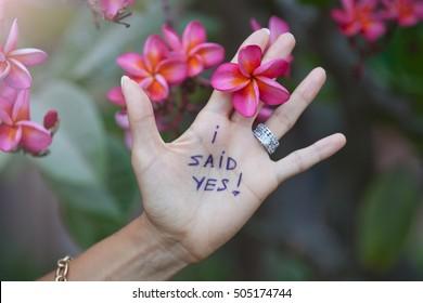 Proposal on resort. Woman said yes.