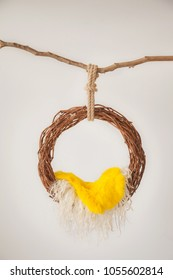 props for photographing newborns, pendant ring from a vine with a yellow peel on a branch on a white background