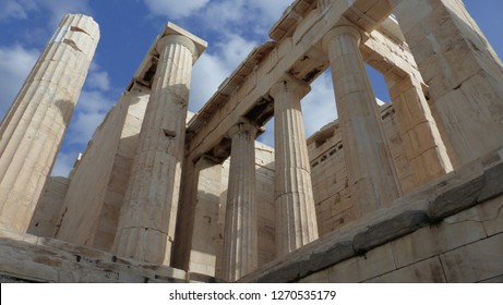 Propylaea of Athens. They are the only western access to the Acropolis of Athens. They were built by Pericles between 437 and 431 BC.  Athens, Greece. February, 16, 2018.