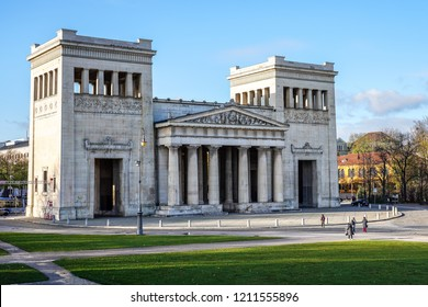 Propylaea or Propylaen - Monumental city gate in Konigsplatz (King's Square), Munich, Germany, Europe. The building in Doric order, evokes the entrance for the Athenian Acropolis