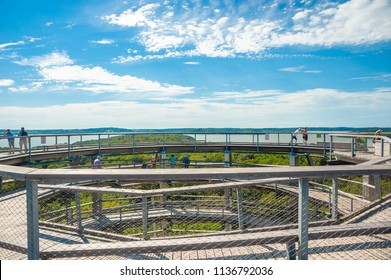 PRORA, GERMANY - JUNE 24, 2016:  Tree-top walk in Prora on the island of Rügen at the Baltic Sea