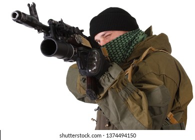 pro-Russian militiaman with kalashnikov ak-47 rifle with under-barrel grenade launcher isolated on white background