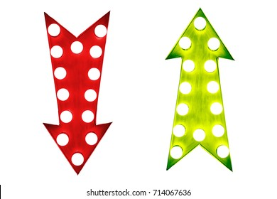 Pros and cons: red down and green up vintage retro arrows illuminated with light bulbs.  Concept image for advantages and disadvantages. Cut out isolated on white background.