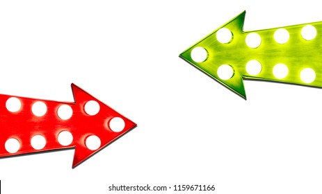 Pros and cons red and green leaf right vintage retro arrows illuminated with light bulbs. Concept image for advantages and disadvantages, risk and opportunity. Cut out isolated on white background.