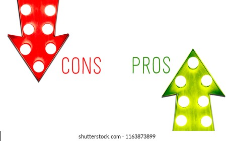Pros and cons red green left right up down vintage retro arrows illuminated light bulbs. Concept for advantages pro disadvantages con, risk and opportunity.  Isolated on white background with text