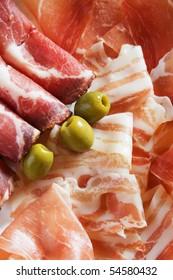 Prosciutto di Parma and bacon, italian cured meat