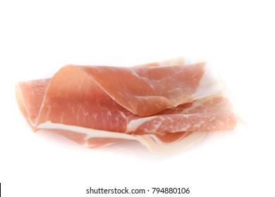 prosciutto ham in white background